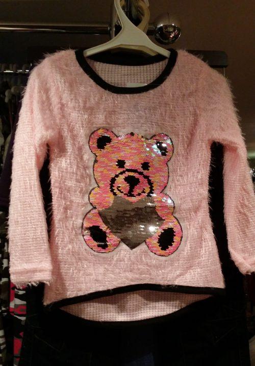fluffy trui roze met omkeerbare pailletten beer Leuke trui met applicatie van toverpailletten beer Wrijf over de beer en deze wordt een andere kleur Materiaal: 95% polyester 5% elasthan - GRATIS VERZENDING - BETAAL VEILIG MET IDEAL - OPHALEN MOGELIJK nr.ms2038