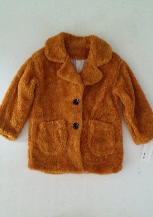 bontjas met zakken okergeel Hippe teddy jas van imitatiebont in okergeel met zakjes voorop - BETAAL VEILIG MET IDEAL - OPHALEN MOGELIJK