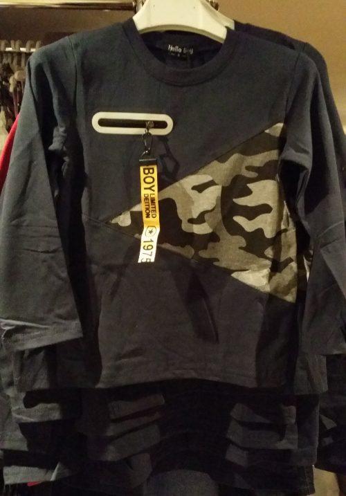 longsleeve black met army Mooi shirt met army accenten en sierrits Materiaal: 65% katoen 30% polyester 5% elasthan - BETAAL VEILIG MET IDEAL - OPHALEN MOGELIJK nr.js1007