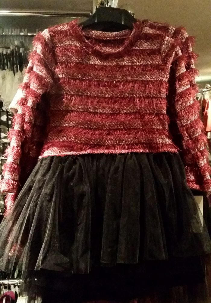 jurk bordeaux zwart met tule Mooi jurkje gestreept bordeaux met tule onderkant - BETAAL VEILIG MET IDEAL - OPHALEN MOGELIJK art.nr. mj2080