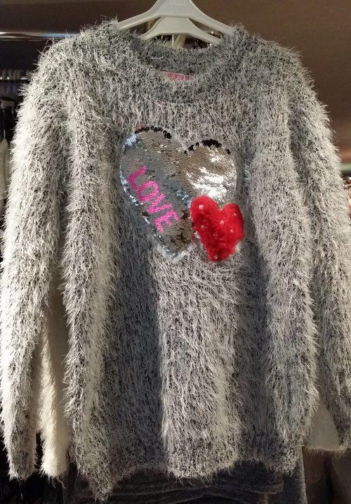 fluffy trui grijs met omkeerbare pailletten Mooie warme trui met toverpailletten en imitatiebont Materaal: 35% katoen 65% polyester - GRATIS VERZENDING - BETAAL VEILIG MET IDEAL - OPHALEN MOGELIJK ms2028