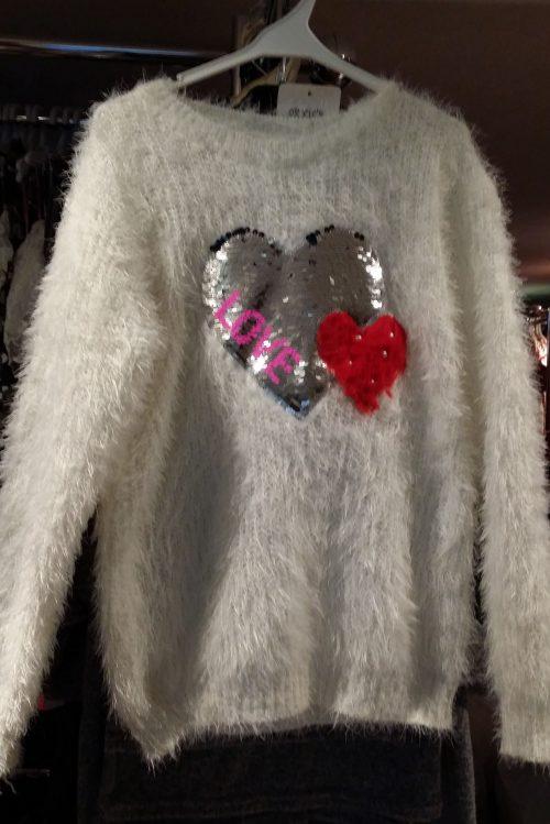 fluffy trui white met omkeerbare pailletten Mooie warme trui met toverpailletten en imitatiebont Materaal: 35% katoen 65% polyester - GRATIS VERZENDING - BETAAL VEILIG MET IDEAL - OPHALEN MOGELIJK