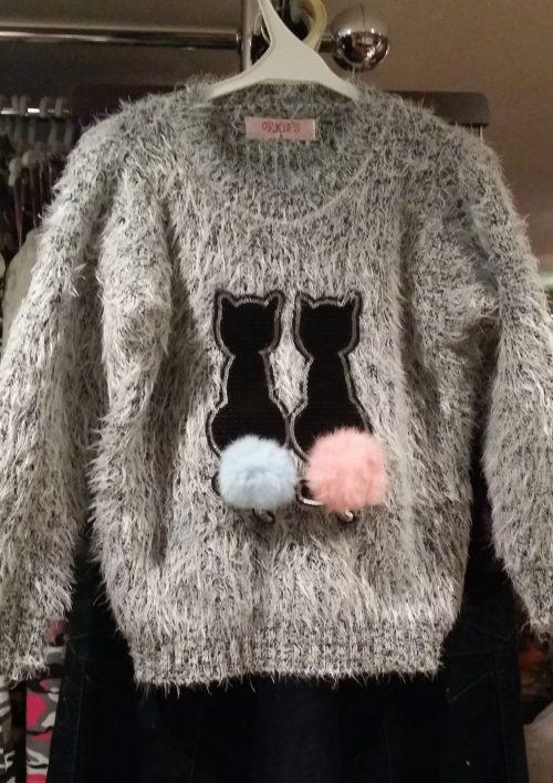 fluffy trui grijs met pailletten Mooie warme trui met pailletten van poezen en imitatiebont Materaal: 35% katoen 65% polyester - GRATIS VERZENDING - BETAAL VEILIG MET IDEAL - OPHALEN MOGELIJK ms2035