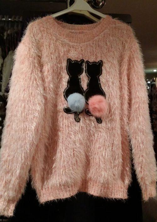 fluffy trui zalmroze met pailletten Mooie warme trui met pailletten van poezen en imitatiebont Materaal: 35% katoen 65% polyester - GRATIS VERZENDING - BETAAL VEILIG MET IDEAL - OPHALEN MOGELIJK ms2037
