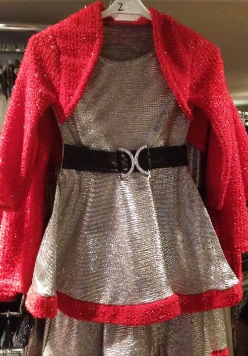 jurk zilver met rood dubbellook Mooi jurkje in zilver met rode afwerking. Op de rode stof zitten glitters Leuk voor de feestdagen - BETAAL VEILIG MET IDEAL - OPHALEN MOGELIJK artikelnummer mj2153