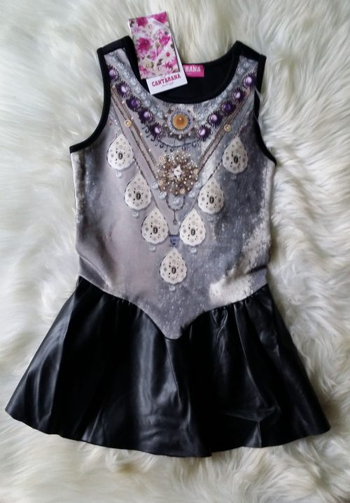 jurk black met print in de stof Mooi jurkje met lederlook rokje eraan vast   De print zit in de stof BETAAL VEILIG MET IDEAL OPHALEN OF VERZENDEN mj2503