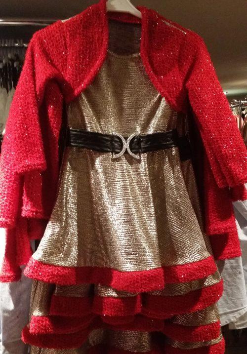 jurk dubbellook goud rood Mooi jurkje in goud met rode afwerking. Op de rode stof zitten glitters Leuk voor de feestdagen - BETAAL VEILIG MET IDEAL - OPHALEN MOGELIJK