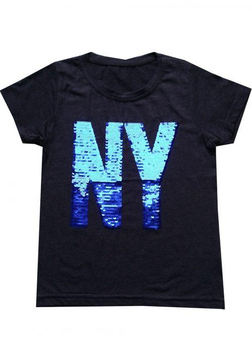 shirt donkergrijs NY omkeerbare pailletten Mooi t-shirt in donkergrijs met applicatie van toverpailletten 95% katoen 5% elasthan - BETAAL VEILIG MET IDEAL - OPHALEN MOGELIJK art.nr.jts1597