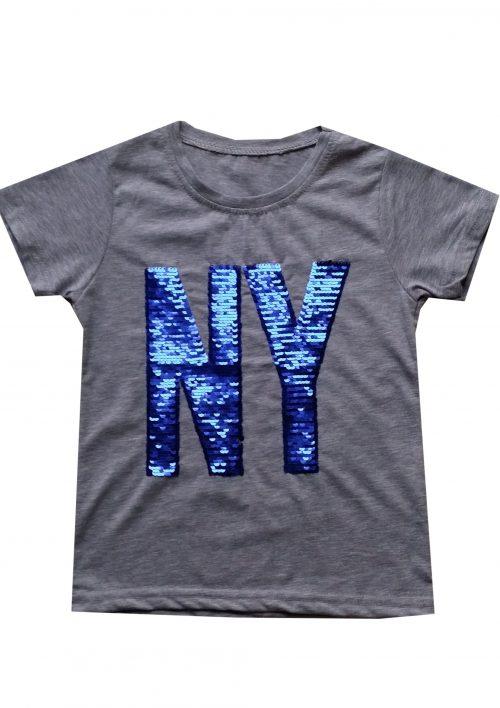shirt grijs NY omkeerbare pailletten Mooi t-shirt in grijs met applicatie van toverpailletten 95% katoen 5% elasthan - BETAAL VEILIG MET IDEAL - OPHALEN MOGELIJK art.nr.jts1598