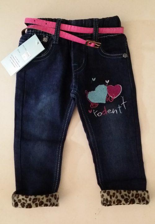 jeans hartjes Leuke jeans met omslag van panterprint Op de achterkant 2 zakjes met leuke borduursels - BETAAL VEILIG MET IDEAL - OPHALEN MOGELIJK