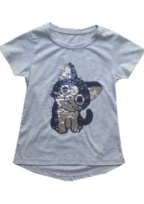 shirt grijs met omkeerbare pailletten poes Leuk shirt met toverpailletten van een poes - BETAAL VEILIG MET IDEAL - OPHALEN MOGELIJK nr.mts1001