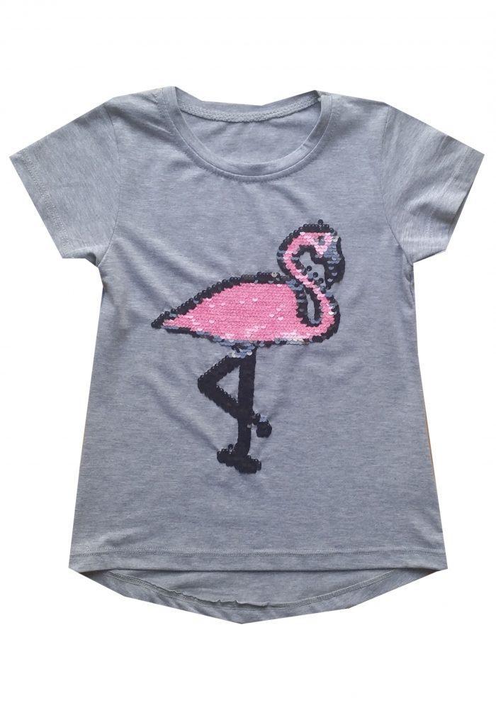 shirt grijs flamingo omkeerbare pailletten mooi shirt met toverpailletten flamingo 95% katoen 5% elasthan - BETAAL VEILIG MET IDEAL - OPHALEN MOGELIJK art.nr.mts1711