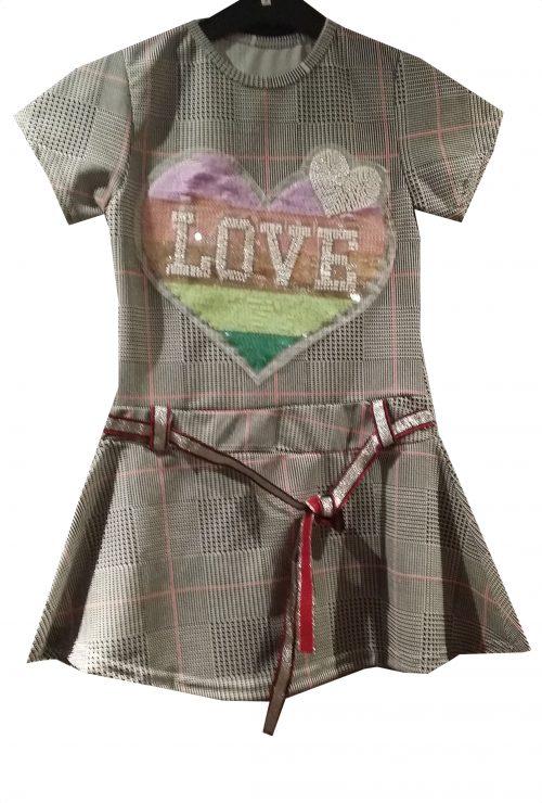 jurk love geruit Leuk jurkje in geruite stof met omkeerbare pailletten love  - BETAAL VEILIG MET IDEAL - OPHALEN MOGELIJK z1022r
