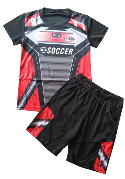 voetbal set rood Leuke korte broek met bijpassend shirt in frisse kleuren  - BETAAL VEILIG MET IDEAL - OPHALEN MOGELIJK nr.jks1017