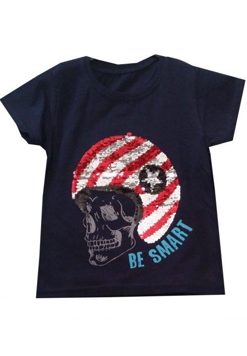 shirt donkerblauw omkeerbare pailletten Leuk shirt met print en toverpailletten 95% katoen 5% elasthan - BETAAL VEILIG MET IDEAL - OPHALEN MOGELIJK nr.jts1640
