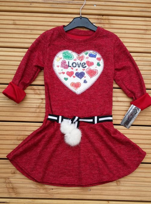 jurk bordeaux met omkeerbare pailletten love Mooi wollig jurkje met toverpailletten, als je over de applicatie wrijft dan wordt deze goudkleurig - BETAAL VEILIG MET IDEAL - OPHALEN MOGELIJK artikelnummer mj2128