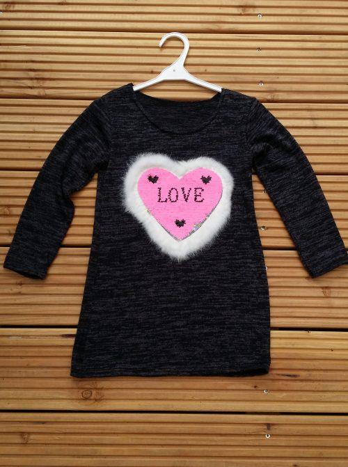 jurk hart love met omkeerbare pailletten black Leuk jurkje met applicatie van toverpailletten en bontje eromheen  - BETAAL VEILIG MET IDEAL - OPHALEN MOGELIJK nr.mj2429zw