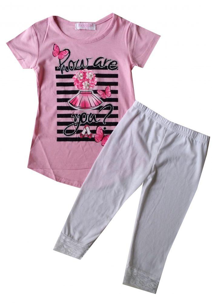 capri legging met shirt roze Leuke combinatie van wit met roze Ophalen mogelijk nr.mks1013