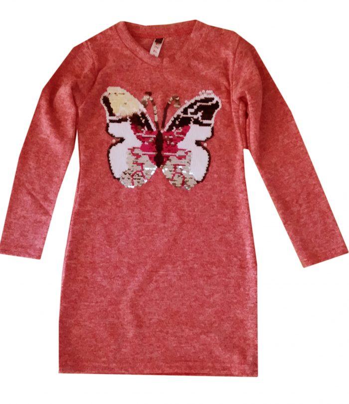 jurk vlinder met omkeerbare pailletten Mooi wollig jurkje met applicatie van een vlinder met toverpailletten - BETAAL VEILIG MET IDEAL - OPHALEN MOGELIJK nr.zv1023r