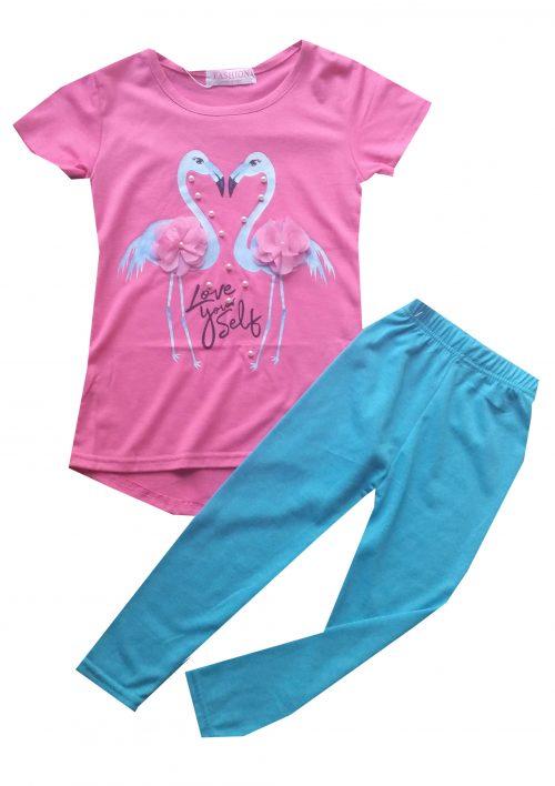legging met roze flamingo shirt Leuk shirt met flamingo's gecombineerd met een turqoise legging Extra voordelige combinatie Ophalen mogelijk nr.mks1050