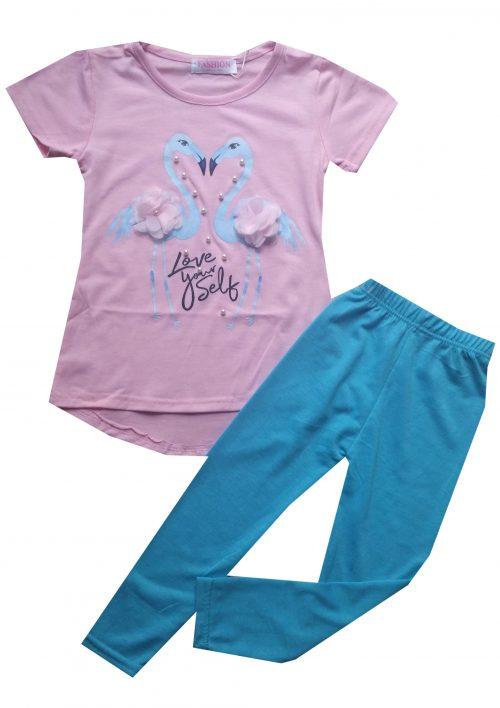 legging met flamingo shirt Leuk shirt met flamingo's gecombineerd met een turqoise legging Extra voordelige combinatie Ophalen mogelijk nr.mks1051