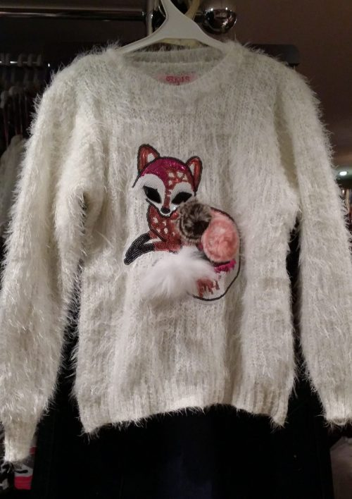 fluffy trui white met pailletten Mooie warme trui met pailletten en imitatiebont Valt ruim Materaal: 35% katoen 65% polyester  - BETAAL VEILIG MET IDEAL - OPHALEN MOGELIJK