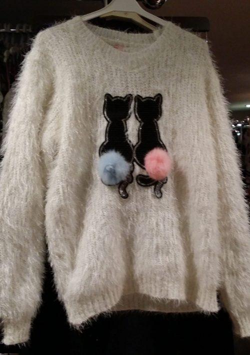 fluffy trui white met pailletten Mooie warme trui met pailletten van poezen en imitatiebont Valt ruim Materaal: 35% katoen 65% polyester - BETAAL VEILIG MET IDEAL - OPHALEN MOGELIJK