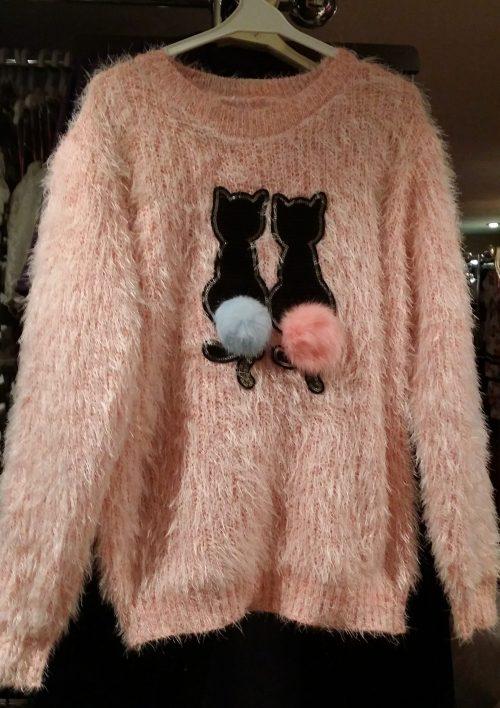 fluffy trui zalmroze met pailletten Mooie warme trui met pailletten van poezen en imitatiebont Valt ruim Materaal: 35% katoen 65% polyester  - BETAAL VEILIG MET IDEAL - OPHALEN MOGELIJK ms2037