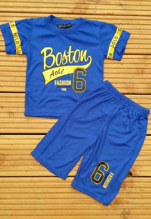 Complete set korte broek met shirt blauw Stoere set met korte broek en shirt met leuke print Ophalen of verzenden nr. f0100bl