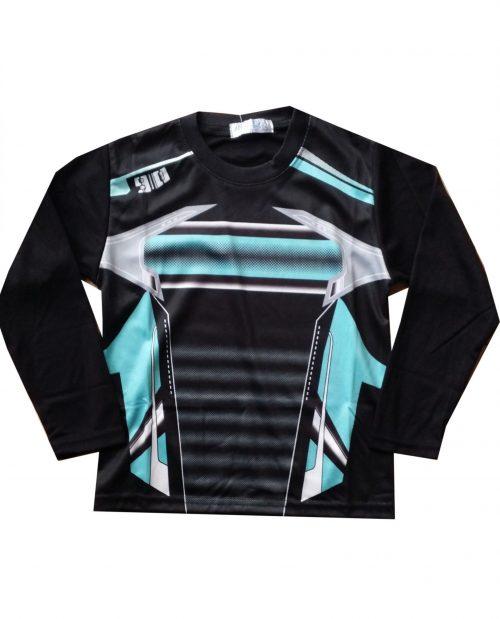 Longsleeve lichtblauw/zwart Leuke longsleeve met mooie opdruk 100% polyester – BETAAL VEILIG MET IDEAL – OPHALEN MOGELIJK