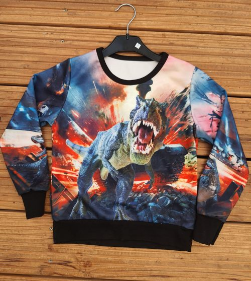 Sweatshirt dino Stoer sweatshirt met op de voor en achterkant grote dino print 95% polyester – BETAAL VEILIG MET IDEAL – OPHALEN MOGELIJK