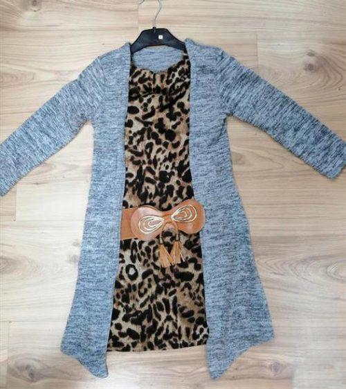 Jurk leopard grijs Super mooi jurkje met pantermotief Vest zit vast aan de jurk Van mooie kwaliteit -BETAAL VEILIG MET IDEAL -OPHALEN MOGELIJK