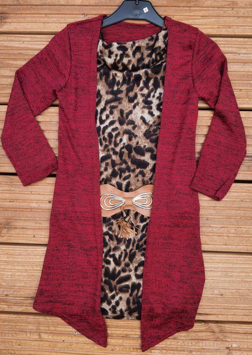 Jurk leopard rood Super mooi jurkje met pantermotief Vest zit vast aan de jurk Van mooie kwaliteit -BETAAL VEILIG MET IDEAL -OPHALEN MOGELIJK